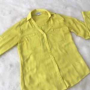 Express Portofino Shirt Bright Yellow Top Size XS